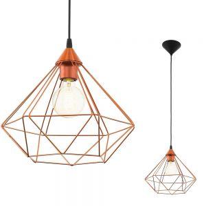 Pendelleuchte im geometrischen Design, Ø 32,5cm - 1flammig - in kupferfarbig kupfer