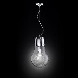 Pendelleuchte in Glühbirnenform  in Chrom - Klarglas