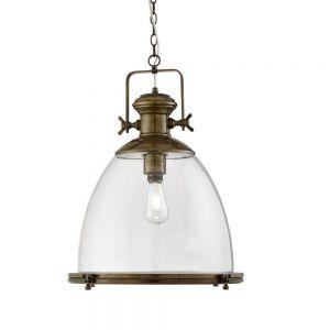 Pendelleuchte Industrial in Messing-Antik und Glasschirm aus Klarglas