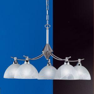 Pendelleuchte Krone, Küche, rund, 5-flammig, Alabasterglas weiß, Metall Nickel-Chrom 5x 30 Watt, silber, Nickel-matt, matt