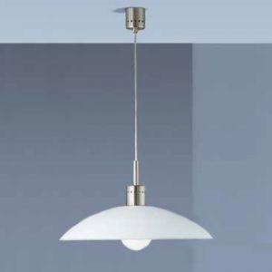 Pendelleuchte mit satiniertem Glasschirm in 46cm Durchmesser in Nickel-matt weiß/stahlfarbig, Nickel-matt