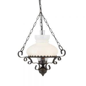 Pendelleuchte Oil Lantern in Dunkelbraun mit weißem Opalglas