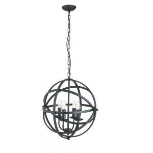 Pendelleuchte Orbit 4-flammig aus Metall in Schwarz matt schwarz, matt