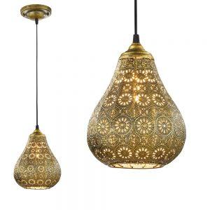 Pendelleuchte im orientalischen Stil in Altmessing - Ø 19cm 1x 40 Watt, messingfarbig, brüniert