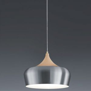 Pendelleuchte 36 cm Schirm Alu mit Holzoptik aluminiumfarben