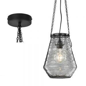 Pendelleuchte in Schwarz, strukturiertes Glas 25cm