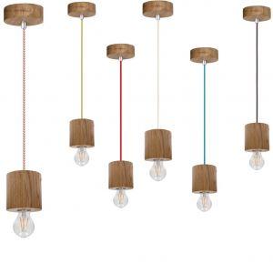 Pendelleuchte Trongo mit Holz Zylinder, Kabelfarbe wählbar