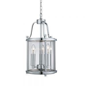 Pendelleuchte Victorian Lantern aus Chrom und Klarglas 3-flammig