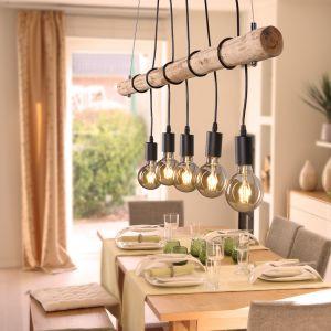 LHG Pendelleuchte, Echtholz, 5-flammig, inkl. 5x 4W LED-Leuchtmittel 5x 4 Watt, LED Lampen