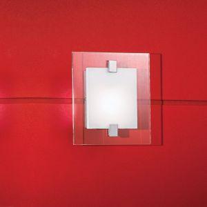 Quadratische Wand-/Deckenleuchte mit teilsatiniertem Glas - inklusive 1x Halogenleuchtmittel G9 33W
