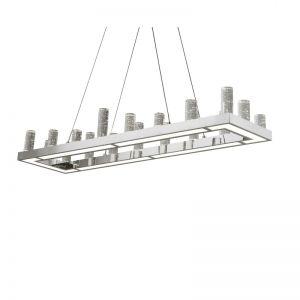 Rechteckige LED Pendelleuchte mit Blasenglas