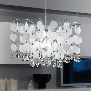Romantische Pendelleuchte in Chrom mit Kristallbehang - 50cm