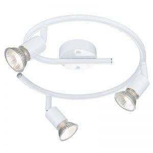 Rondel Deckenstrahler im eleganten Weiß rund - inklusive Leuchtmittel und Ersatzleuchtmittel, je 3 × 50W, GU10