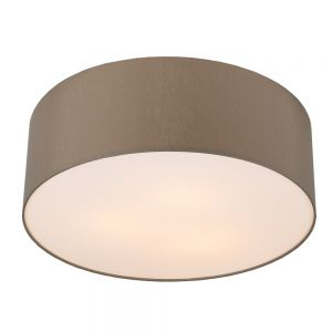 LHG Runde Deckenleuchte mit Lampenschirm aus Chintz-Stoff - Ø62cm - Grau-braun , braun/grau