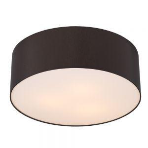 Runde Deckenleuchte mit Lampenschirm aus Chintz-Stoff - Ø62cm - Mokka , mokka