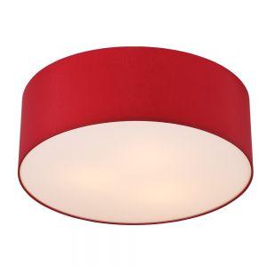 LHG Runde Deckenleuchte mit Lampenschirm aus Chintz-Stoff - Ø62cm - Rubinrot , rubinrot