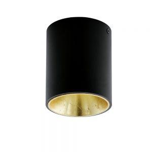 Runde LED-Deckenleuchte in Schwarz, innen gold gold/schwarz