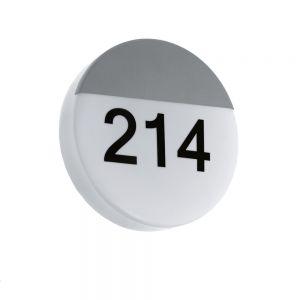 Runde LED-Hausnummernleuchte in silber