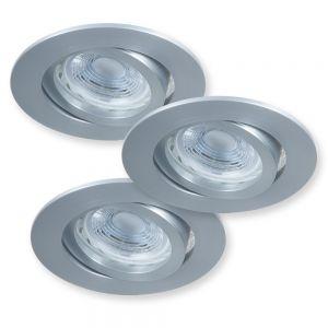 Runder LED Decken-Einbaustrahler  3er-Set je 5Watt  Aluminium