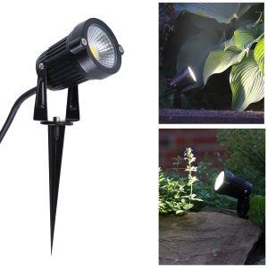 runder LED Erdspieß Außenstrahler in schwarz schwenkbar mit 1.5m Kabel , IP44 , sehr hell 500lm, Erdspießleuchte / Gartenstrahler  / Spot für den Außenbereich , ideal für Garten / Terrasse / Teich + Spannungsprüfer