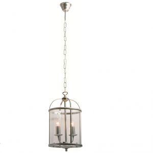 Rustikale Leuchtenserie - Pendelleuchte 2-flammig - Stahl - Glas klar - 2 Farben - Stahlfarbig stahlfarbig