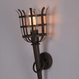 rustikale Wandfackel Dungeon 2 - XL Fackelleuchte mit Gitter, rostfarben / braun, Höhe 53cm XL, ideal für E27 Filament Leuchtmittel