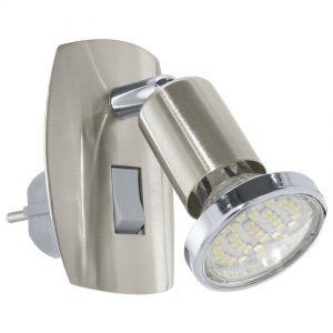 Schwenkbare LED-Steckerleuchte aus Stahl - in nickel-matt silber, Nickel-matt