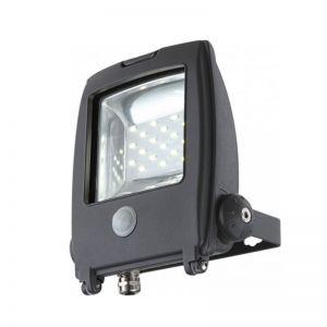 Schwenkbarer LED-Baustrahler aus grauem Aluminium Sensor