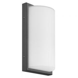 Sensor-LED-Außenwandleuchte in Graphit, weißes Opalglas