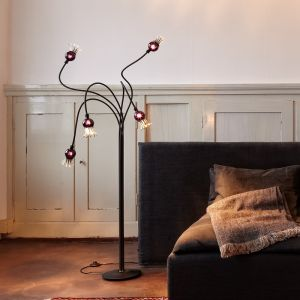 Serien-Lighting 5-flg Stehleuchte Poppy mit Glasschirmen