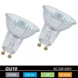 2 er Set GU10/GZ10 Leuchtmittel, Alu-Reflektor, 230lm 35° 2700°K