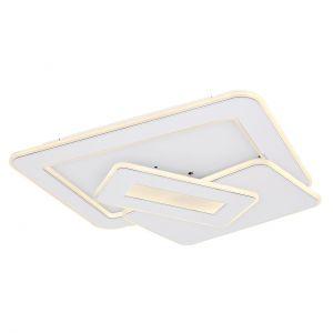 Smart Home LED Deckenleuchte mit CCT-Lichtfarbsteuerung & Fernbedienung & Memory Funktion aus Acryl Rechtecke übereinander kompatibel mit Google-Home und Alexa Deckenlampe weiß