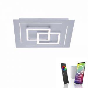 Smart Home LED Deckenleuchte Q®-LINEA 40x40cm 2x 10 Watt + 2x 3 Watt, 40,00 cm, 40,00 cm