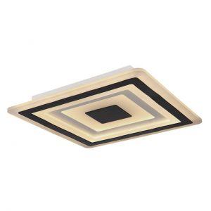Smart Home runde LED Deckenleuchte mit CCT-Lichtfarbsteuerung & Fernbedienung aus Acryl satiniert quadratisch Ecken abgerundet Nachtlicht kompatibel mit Google-Home und Alexaschwarz automatischem Farbwechsel RGB Deckenlampe weiß