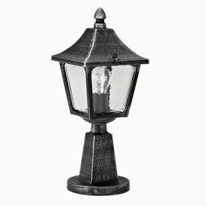 Sockelleuchte aus Aluminiumguss mit Glas klar - in Schwarz-Silber - Höhe 45cm schwarz/silber