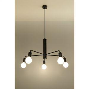 Sputnik E27 Pendelleuchte aus Stahl vintage ideal für Filament-Leuchte 5-flammige Hängelampe schwarz