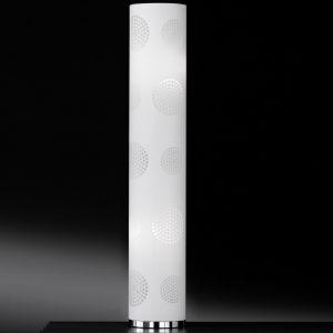 Standleuchte Kunststoff mit trendigem Ausbrenner-Dekor, textile Beschichtung in Weiß weiß