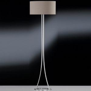 Standleuchte, Nickel-matt, modern, Stoffschirm, Cappucino