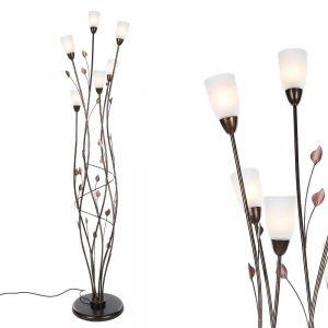 LHG Stehleuchte im Florentiner Stil - Metall - Alabasterglas -  Brauntöne