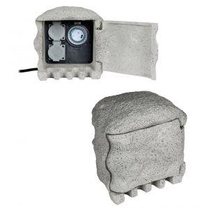 Steinoptik 2fach Verteilersteckdose Piedra mit praktischer Zeitschaltuhr