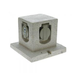 Steinoptik 4fach Steckdosen-Verteiler Würfel
