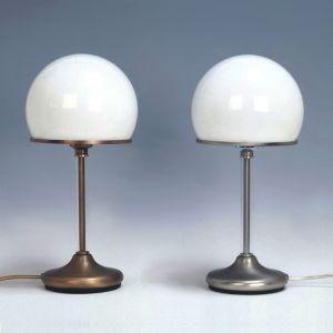 Stilvolle Tischleuchte in Pilzform, Glas rund, 2 Varianten