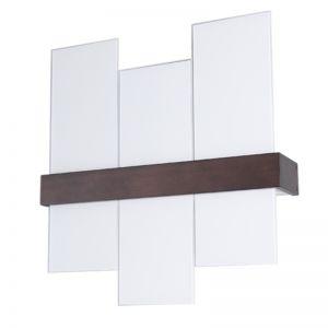 LHG Stilvolle Wandleuchte aus wengèfarbenem Holz mit weißem Glas - 73 cm x 75,5 cm 3x 52 Watt, 73,00 cm, 75,50 cm