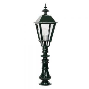 Stilvolle Wegeleuchte mit reichverziertem Mast in hochwertiger Handarbeit - dunkelgrün lackiert