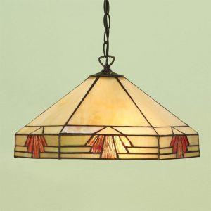 Tiffany-Pendelleuchte - Dunkelbraun -  Tiffanyglas in warmen Farben -   Für Leuchtmittel 1 x E27 60 Watt