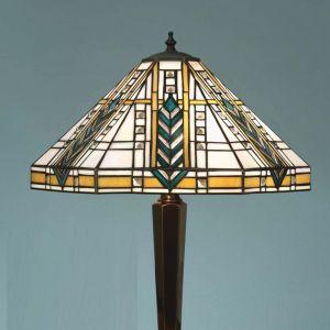 Tiffany-Tischleuchte - Höhe  55 cm - Fuß in Messing-antik messingfarbig, Messing/Antik