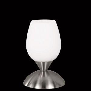 Tischlampe aus Glas mit Touchdimmer in silber opal/silber