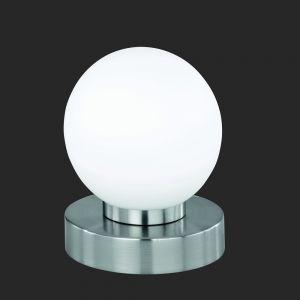 Tischlampe Prinz mit Touchdimmer in silber mit weißem Glas 1x 40 Watt, opal/silber