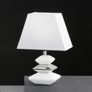 Tischleuchte aus Keramik in Stein-Optik, Keramik Weiß/Chrom-Schirm Weiß weiß