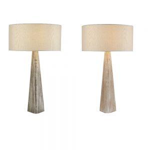 Tischleuchte Bark mit Holzfuß - 2 Farben